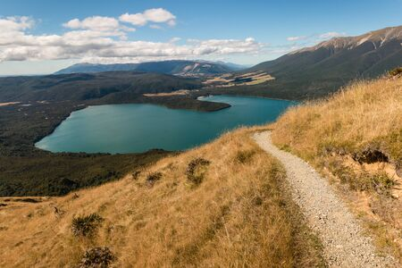nelson: aerial view of lake Rotoiti in Nelson Lakes National Park Stock Photo