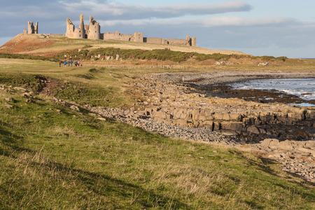 Dunstanburgh castle on Northumberland coast