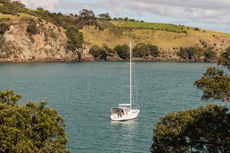 moored: yacht moored in Matiatia Bay at Waiheke Island New Zealand