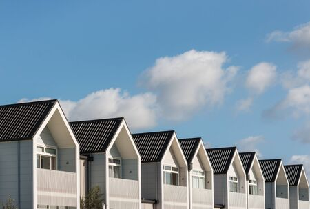 prefab: row of new houses with copy space Stock Photo