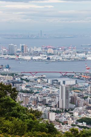 towerblock: aerial view of skyscrapers in Osaka Bay, Japan Editorial