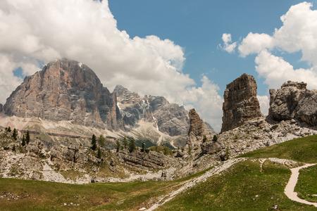 torri: walking track at Cinque Torri in Dolomites
