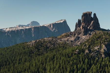 torri: forested slopes in Dolomites, Italy Stock Photo