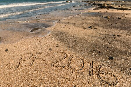 pour feliciter: New Years greeting in sand