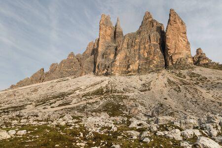 craggy: Drei Zinnen, Dolomites, Italy Stock Photo