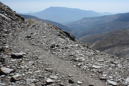 sierra nevada mountain range: winding footpath in Sierra Nevada National Park Stock Photo