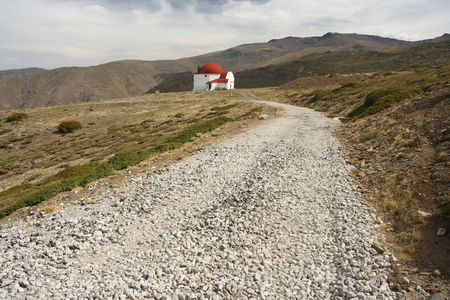 refuge: gravel footpath to San Francisco refuge in Sierra Nevada, Spain Stock Photo