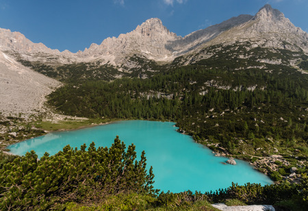 mugo: aerial view of Sorapiss lake in Dolomites, Italy Stock Photo
