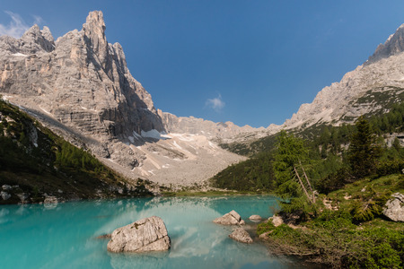 mugo: Sorapiss peak and lake in Dolomites, Italy