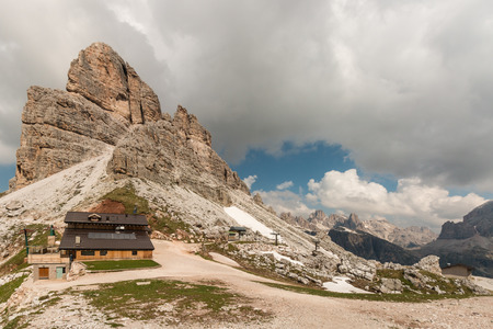 mountain hut: mountain hut at ski resort in Dolomites