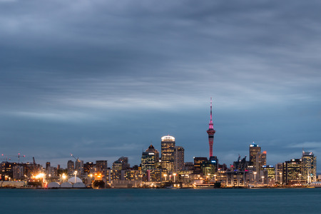 long exposure: long exposure of Auckland skyline at night