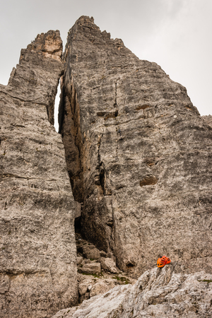 cinque: climbing helmet on rocks at Cinque Torri Stock Photo