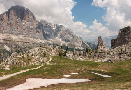 thawing: snow thawing in Dolomites