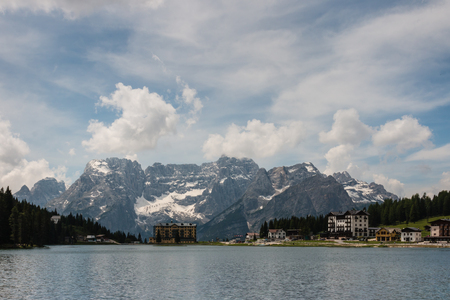 lake misurina: Auronzo di Cadore village at lake Misurina in Dolomites Stock Photo