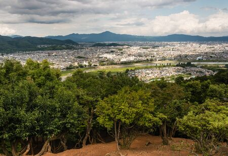urban sprawl: aerial view of Kyoto