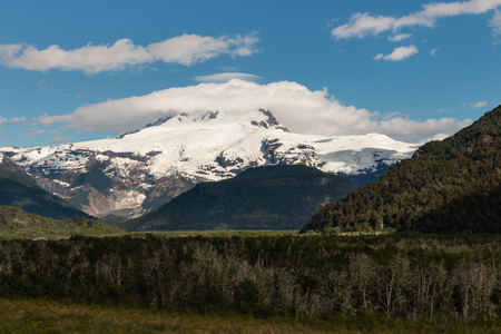 lenticular: Pampa Linda with Tronador mountain and glacier Stock Photo