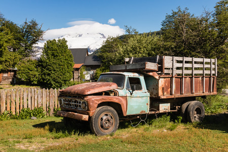 mount tronador: old Ford truck at ranch in Pampa Linda Stock Photo