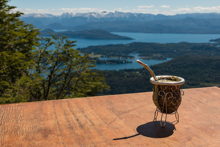 mate infusion: yerba mate tea in traditional calabash gourd