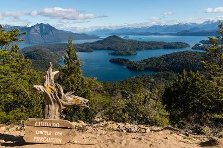 huapi: aerial view of Nahuel Huapi lake in Argentina