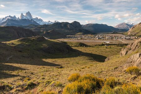chalten: El Chalten village with mount Fitz Roy