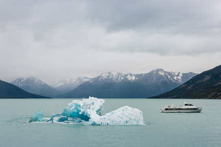 los glaciares: ice floe with  ferry on lake Argentino in Southern Patagonia