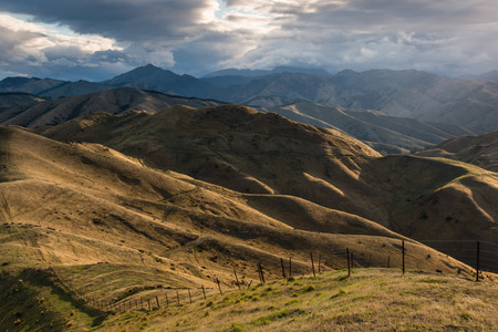 wither: sunset over Wither Hills in Blenheim, New Zealand Stock Photo