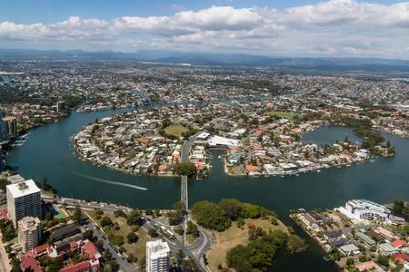 gold coast: aerial view of suburb at Gold Coast, Queensland, Australia Stock Photo