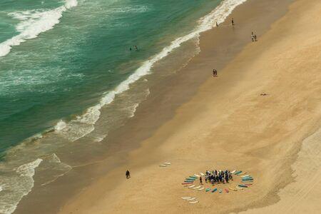 gold coast australia: surf school on beach at Gold Coast, Australia