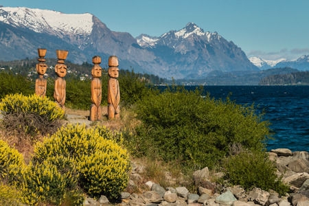 huapi: wooden sculptures at Nahuel Huapi Lake in Argentina Stock Photo
