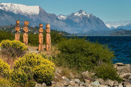 lake nahuel huapi: wooden sculptures at Nahuel Huapi Lake in Argentina Stock Photo