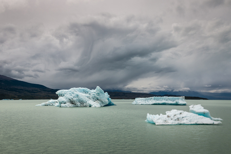 icebergs: icebergs floating on lake Argentino in Patagonia