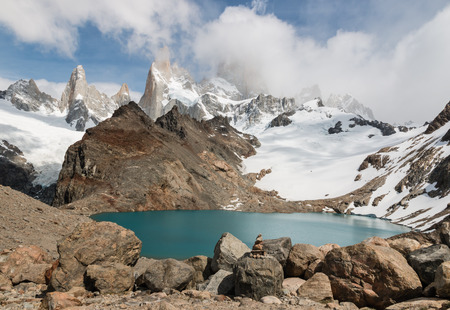 tres: Laguna de los Tres in Southern Patagonia Stock Photo