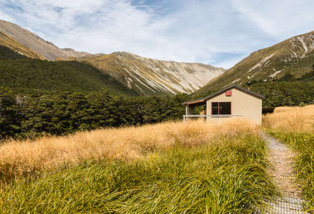 nelson: mountain hut in Nelson Lakes National Park, New Zealand
