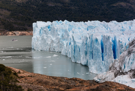 perito moreno: cruise boat approaching Perito Moreno Glacier