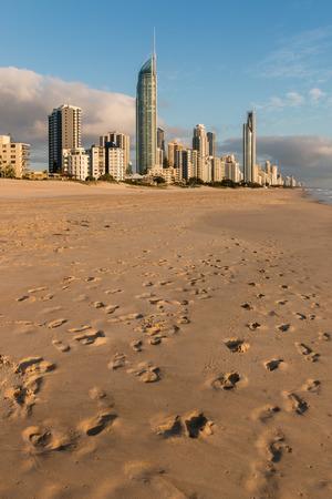 gold coast australia: footprints in sandy beach at Gold Coast, Australia