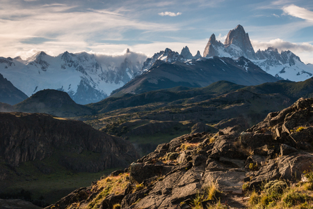 fitz roy: Cerro Torre and Fitz Roy panorama in Southern Patagonia Stock Photo