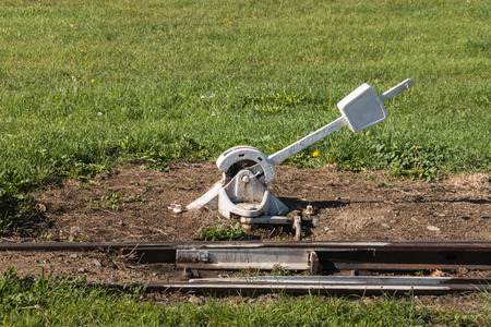 disused: disused derail switch Stock Photo