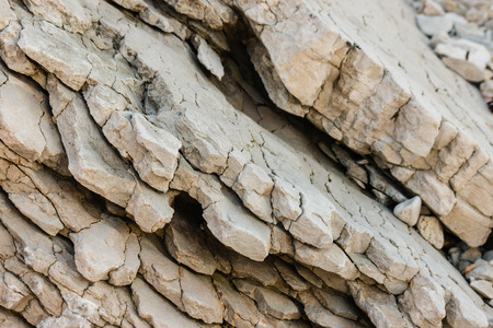 rock layers: closeup of limestone rock layers Stock Photo