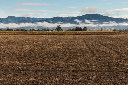 the ploughed field: ploughed field with mountains in background