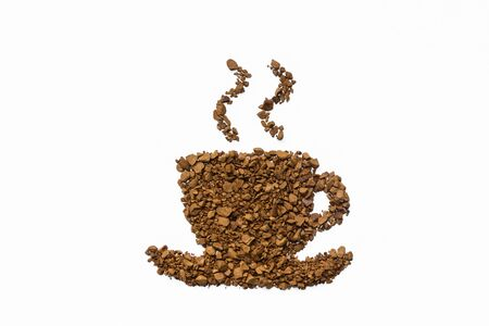 instant coffee: instant coffee cup shape on white background
