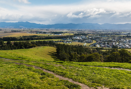plains: view of Blenheim and Wairau plains from Wither Hills, New Zealand Stock Photo