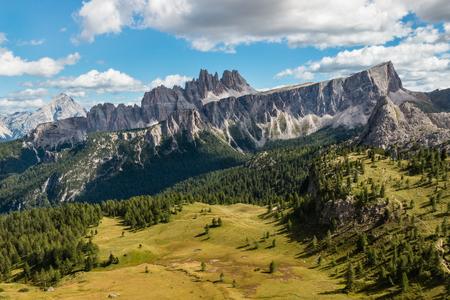 Croda da Lago massif in South Tyrol Dolomites, Trentino-Alto Adige, Italy Stock Photo