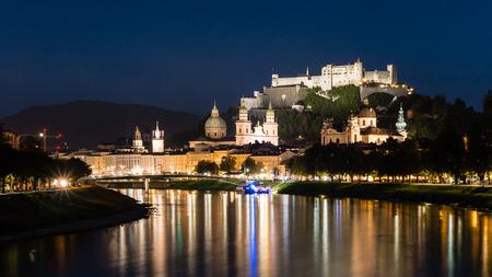 salzach: Salzburg night scape with copy space Stock Photo