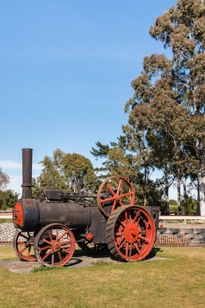 steam traction: vintage steam road traction engine with copy space