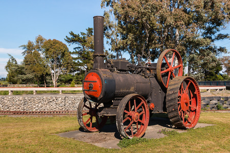 steam traction: closeup of old steam traction engine Editorial