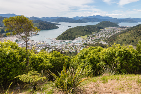 marlborough: aerial view of Picton town and Marlborough Sounds in New Zealand Stock Photo
