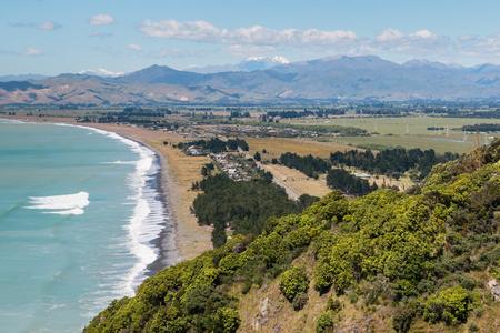 ニュージーランドの南島の Rarangi ビーチの空撮