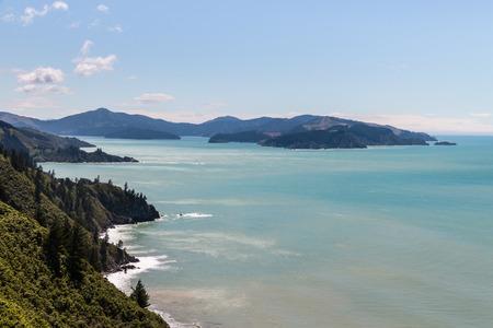 underwood: aerial view of Port Underwood coastline, South Island, New Zealand Stock Photo