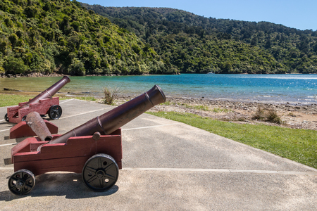marlborough: historic monument at Ship Cove in Marlborough Sounds, New Zealand Stock Photo