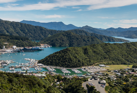 Picton marina at Queen Charlotte Sound in New Zealand Stock fotó